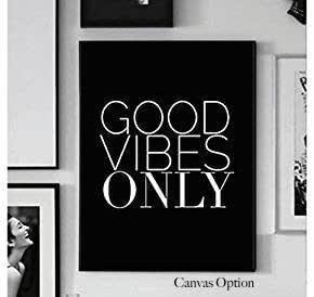 White Wood Sign Home Art Decor Gray Good Vibes Only Handmade Minimalist Black