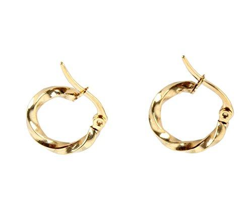 (Small Cute Twisted Polish Gold Tone Stainles Steel Round Huggie Hoop Loop Earrings)