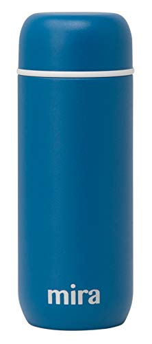 - Mira 7 oz Insulated Small Thermos Flask | Kids Vacuum Insulated Water Bottle | Leak Proof & Spill Proof | Blue Denim