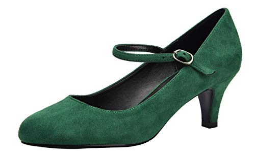 (Women's Classic Low Mid Heels Round Toe Vintage Retro Shoes Comfort Pumps Shoes Green Velvet Size US6.5 EU37)