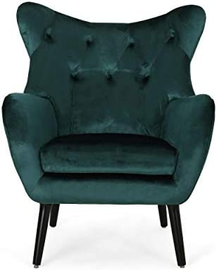 Christopher Knight Home Mandy Velvet Accent Chair, Teal, Dark Brown