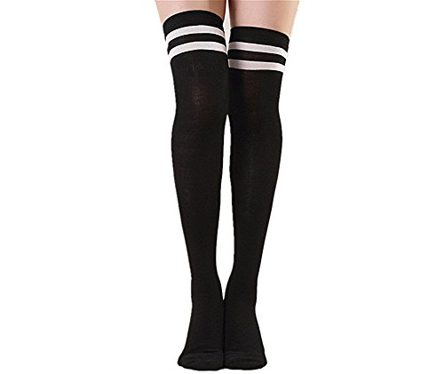 Sunling Women Elastic Fit Most Over the Knee Thigh Stockings Tube Straight Sock for Dress Skirt Black (Black Boots Adult Referee)