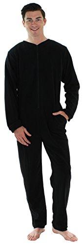 Sleepyheads Men's Adult Non Footed Fleece Color Onesie Pajama Jumpsuit (SH2200-1011-LRG), Black W-Black Zipper, Large