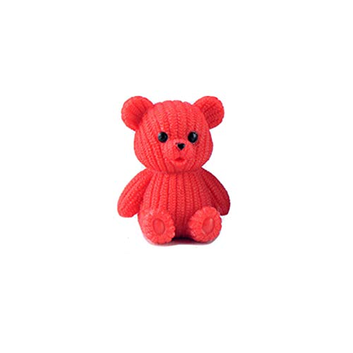 HUHKNDS New Popular Party Home Decoration Accessories Cute Plastic Teddy Bear Miniature Fairy Easter Animal Garden Figurines Home Decor Red