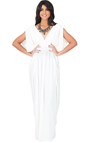 KOH KOH Plus Size Womens Long V-Neck Summer Grecian Greek Bridesmaid Wedding Party Guest Flowy Formal Evening Slimming Vintage Maternity Gown Gowns Maxi Dress Dresses, Ivory White XL 14-16 -