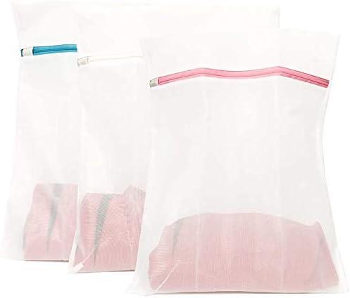Juego de 3 Extra Grande bolsas para lavadora, 50 x 40 cm,Bolsa de lavandería de Malla, Lavado de Red Reutilizable con Cremallera(3XL)