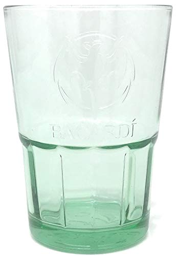 2 X Bacardi Rum Glas Green Bacardi Bat Embossed Base Glases New