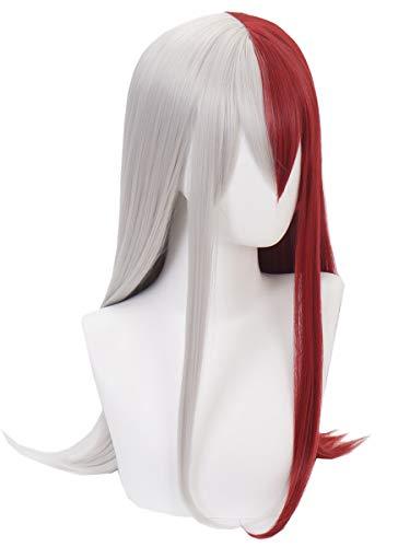 Topcosplay Todoroki Wig Female Long Bangs Cosplay Halloween Costume Wigs Red and Silver -