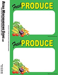 "Price Sign Laser Cards""Fresh Produce"" PC Printable (3 Sizes Available 100 8 1/2"" x 11"" Sheets Per Pack) Retail - Supermarket - Grocery Business Store Signs (5 1/2"" x 7"" 2up) 200 Cards"