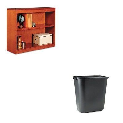 KITALEBCS23036MCRCP295600BK - Value Kit - Best Square Corner Wood Veneer Bookcase (ALEBCS23036MC) and Rubbermaid-Black Soft Molded Plastic Wastebasket, 28 1/8 Quart (RCP295600BK)