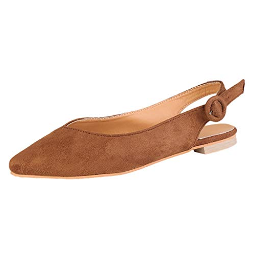 (Aunimeifly Ladies Solid Color Buckle Pointed Toe Flats Women Slingbacks Rome Sandals Casual Single Shoes Brown )
