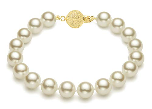 (7-7.5mm Cream South Sea Cultured Pearl Bracelet AA+ Quality 14k Yellow Gold, 7