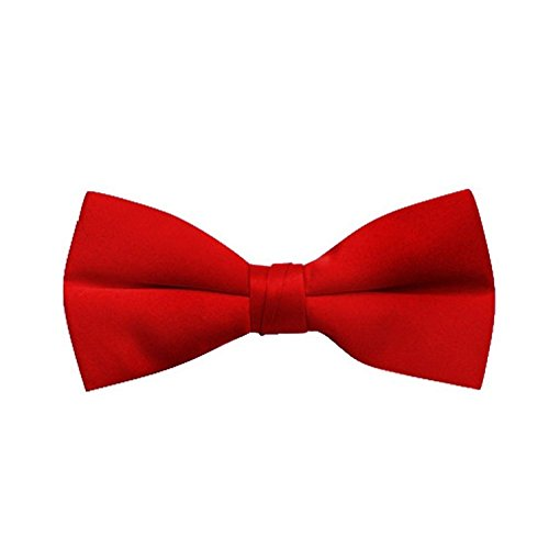 Boy's Poly Satin Banded Bow Ties - Red (Red Bow Tie)