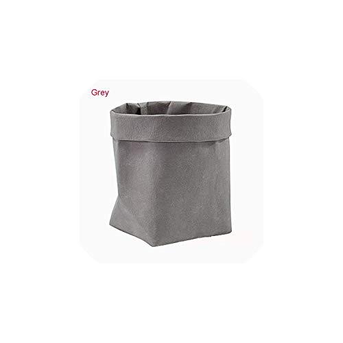 (Mini Succulents Planter Pot Washable Kraft Paper Flowerpot Creative Desktop Flower Pots Reuseable Multifunction Home Storage Bag,Grey,8 x 8 x 15cm)