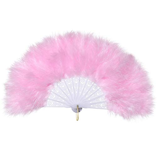 BABEYOND Kids' Roaring 20s Vintage Style Folding Handheld Flapper Marabou Feather Hand Fan for Costume Halloween Dancing Party Tea Party Variety Show 11.8