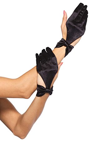 Leg Avenue Women's Satin Gloves, Black, One Size