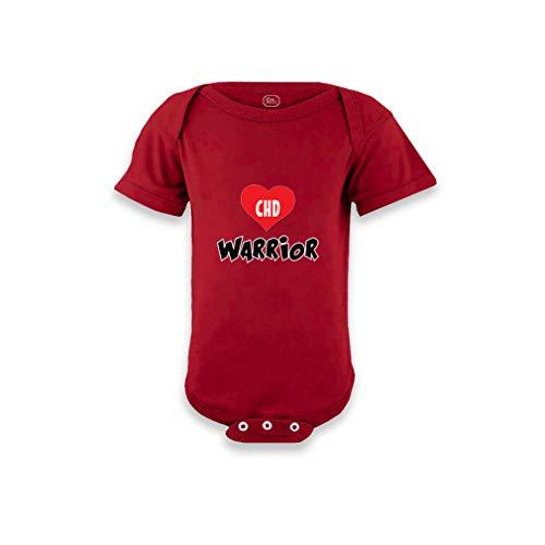 CHD Warrior Short Sleeve Envelope Neck Boys-Girls Cotton Baby Bodysuit One Piece - Garnet, 12 Months - Garnet Infant One Piece