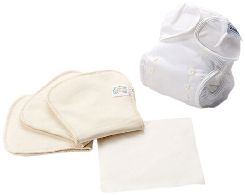 Bambinex 032086 - Conjunto de pañales reutilizables y cubrepañal, talla 1 (3,5-10 kg), color natural