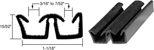 CRL Flexible Flocked Rubber Glass Run Channel for Universal Applications - 96 in long