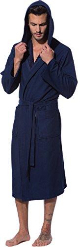 Morgenstern, Bademantel Herren mit Kapuze, blau ( dunkelblau ), leicht