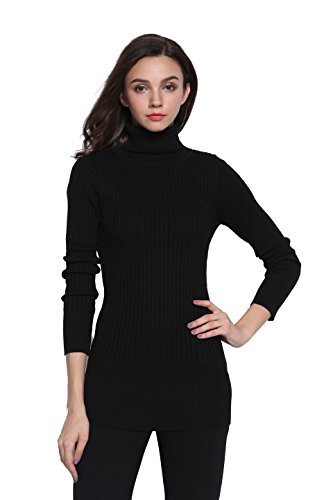 Sofishie Fashion Cable Knit Turtleneck Long Sweater - Black - (Black Turtleneck Sweater)