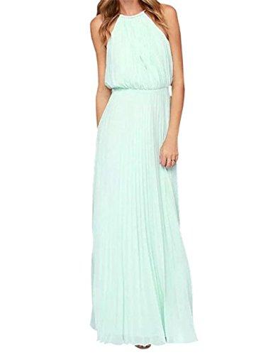 Evening Dress Maxi Pleated Beach Legend Angel Chiffon Formal Halter Mint s Women naU7x4qOw