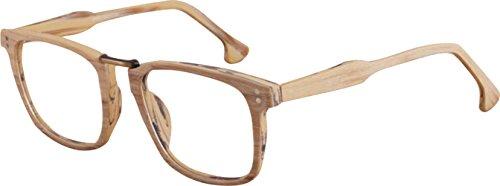J&L Glasses Vintage Classic Full Frame Wood Grain Unisex Glasses Frame (Light Wooden, clear) by J&L Glasses