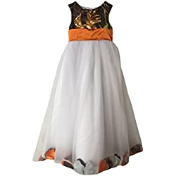 MILANO BRIDE Girl's Prom Dress Wedding Party Gown Camo Long Empire-Waist Tulle -Child 6-Orange&Camo