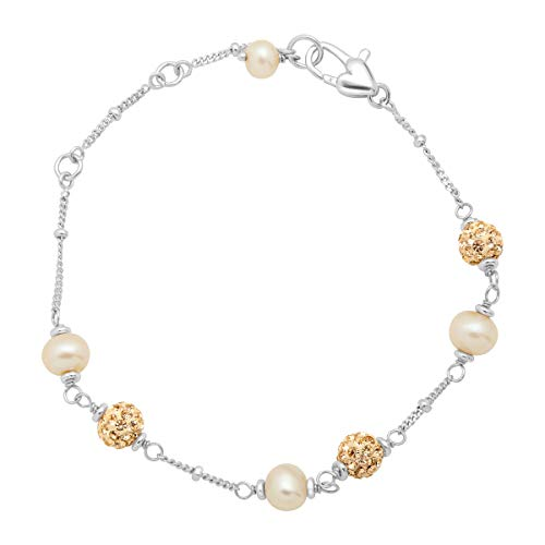 Girl's Champagne Freshwater Cultured Pearl Bead Bracelet with Crystals in Sterling Silver