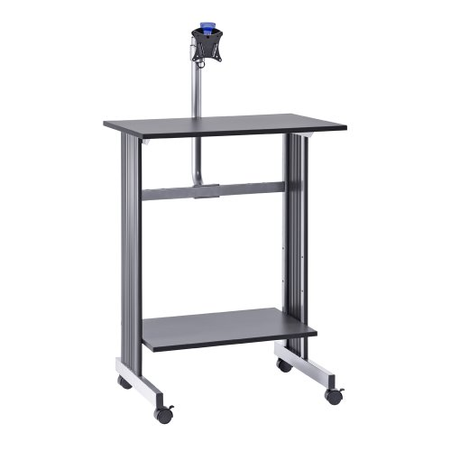 Buddy Products Stand Up Height Workstation with LCD Mount, 20 x 56 x 29 Inches, Charcoal and Silver (6464-36) - Buddy Wood 4 Shelf
