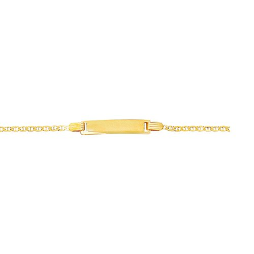 14k Yellow Gold 6 Inch Polish Finish Engravable Id Mariner Girls Bracelet by Diamond Sphere