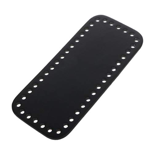 Knitting Purse Handles - Shoresua Rectangle Bottom with Holes for Knitting Bag PU Leather Handbag DIY Shoulder Bags Accessories - Black