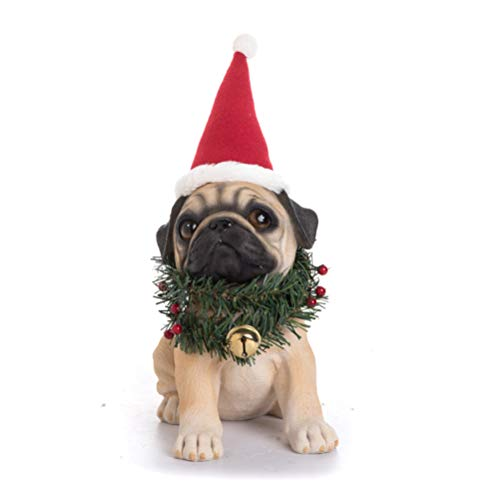 Transpac Imports D1253 Resin Santa Hat & Wreath Pug Pup Figurines, Brown