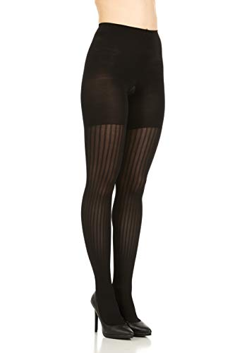 Star Power by Spanx Women's Black Ribbed Row Shaping Tighst Size ()