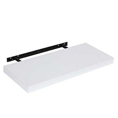 Songmics Wandregal Wandboard Bücherregal CD-Regal MDF-Platte mit PVC-Furnier weiß 60 x 3,8 x 25 cm LWS511W
