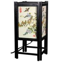 OKSLO Oriental Furniture Art Shoji Bird 14'' Table Lamp