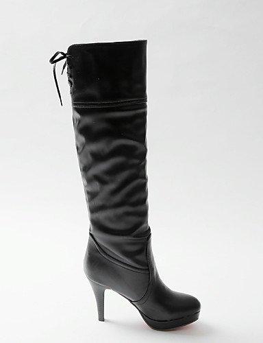 Vestido Moda Zapatos De 5 Redonda Blanco Cn43 Casual Tacón Eu42 5 us10 Cn A Mujer us10 Xzz Negro Semicuero Punta 5 White Black La Botas Stiletto Uk8 Pvd1wP5x