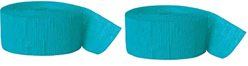 - Unique Industries 81ft Crepe Paper Streamer Roll (Teal, 2 Pack)