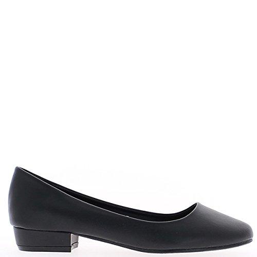Schwarze Pumps Heels quadratisch 2,5 cm Runde Tipps