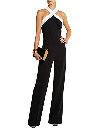 Aro Lora Women's Halter Neck Criss Cross Wide Leg Long Pants Jumpsuits Rompers Large Black
