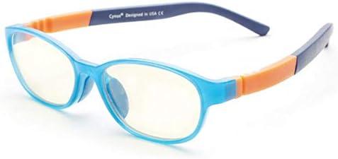 Miwaimao ブルー ライト カット 眼鏡,キッズコンピュータグラスフレーム用アンチブルーライトグラスフレームBPAフリーシリコンノーズパッドボーイズ/ガールズ年齢7〜14、ブルー