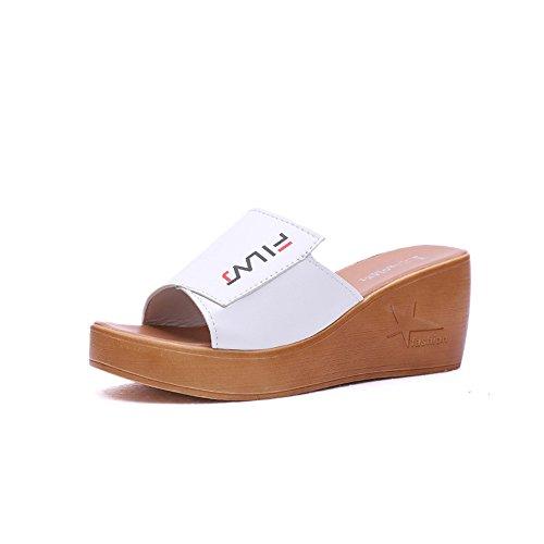 Summer Wedge Flops Beach Thong pit4tk Beach Flip Platform Shoes Womens Strap White Sandals CwIHq4