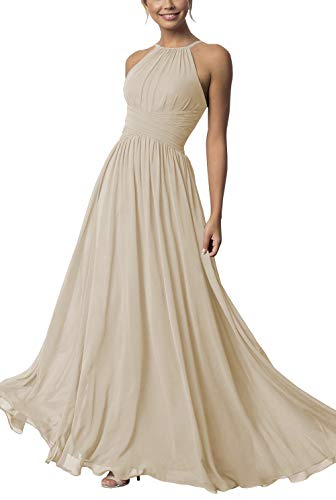 Clothfun Women's Halter Bridesmaid Dresses Long Chiffon A-Line Prom Formal Wedding Party Gowns,Champagne,8