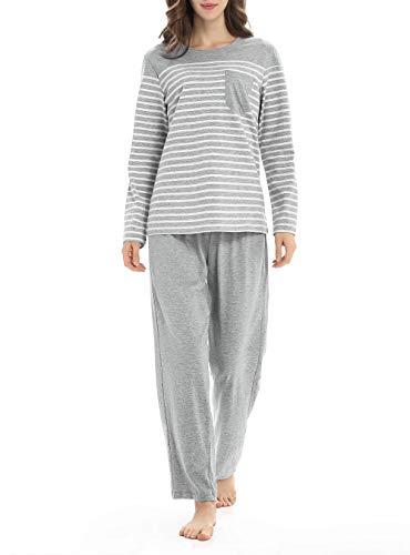 Genuwin Cozy Cotton Pajamas Set for Women Long Sleeve Sleepwear Set PJ Set Loungewear Sleep Set S~XL