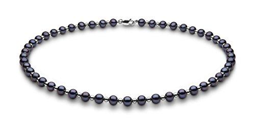 Kimura Pearls 40,6cm 5,5mm Noir Lime demi-ronde-Collier Femme-Or blanc 9carats Perle d'Eau Douce de Culture de 40,6cm