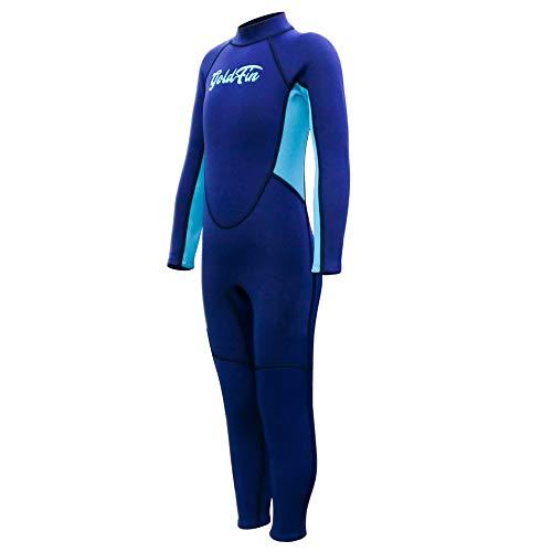 Goldfin Kids Wetsuit Full Body Wetuit- 2mm Neoprene Thermal Swimsuit Back Zipper for Fishing Snorkeling Diving Wetsuit for Girls Boys SW018 (Blue, 10) ()