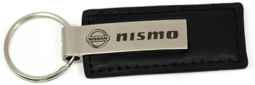 Nissan NISMO Logo Etched Keychain BLACK LEATHER Metal Keyring Lanyard