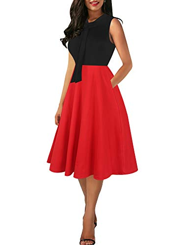 oxiuly Women's Vintage Bow Tie V-Neck Pockets Casual Work Party Cocktail Swing A-line Dresses OX278 (XL, Black-red Solid)