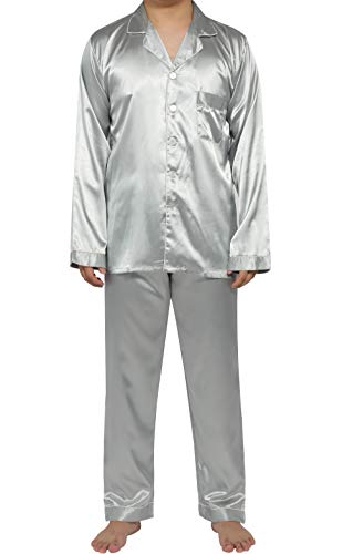 (YIMANIE Mens Silk Satin Pajamas Set Classic Sleepwear Loungewear)