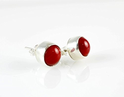 Red Quartz Earrings - Women's Tiny Sterling Silver Natural Red Coral Round Handcrafted Stud Earrings